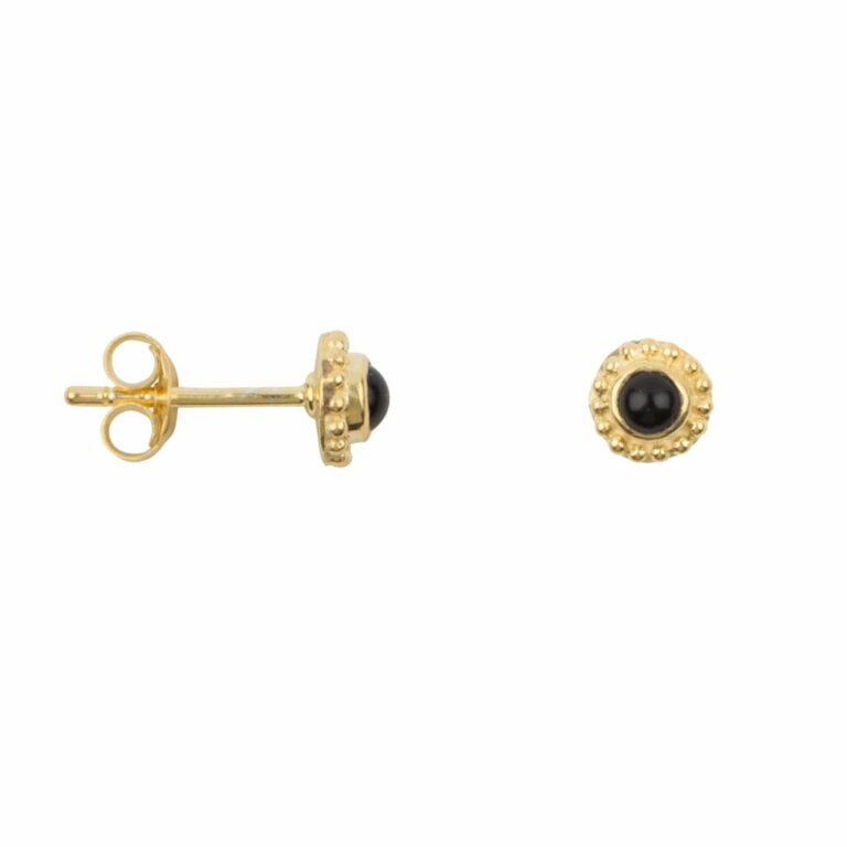 Round dotted onyx gold earring